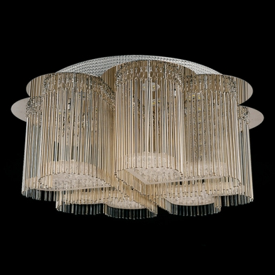 Beautiful Flower Shape and Crystal Heart Accented Romantic and Graceful Flush Mount Light