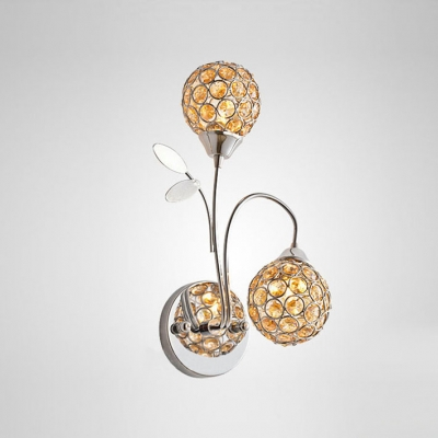 Nature inspired lighting Lamp Beautiful Natureinspired Two Lights Refined Wall Sconce Featuring Gleaming Crystal Beads Adorned Polished Chrome Beautifulhalo Beautiful Natureinspired Two Lights Refined Wall Sconce Featuring