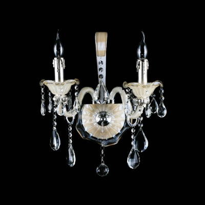 Beautiful Scrolling Arms Add Grace to Glistening Two Light Crystal Wall Sconce
