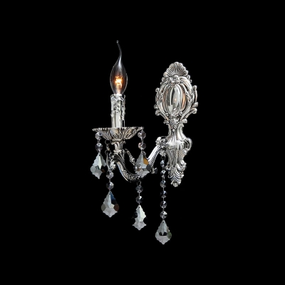 Charming European Style Single-light Wall Sconce Completed with Delicate Silver Finish and Hand-cut Crystal Drops