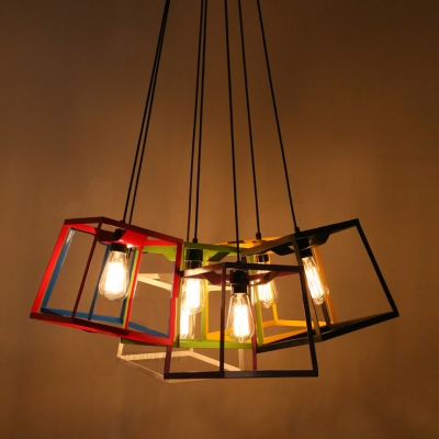 Chic and Colorful Wrought Iron Cube Cage 9.8Wide Designer Mini Pendant Lighting