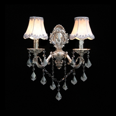 Classic European Style Two-light Wall Sconce Features Elaborate Silver Finish Plate and  White Fabric Bell Shades