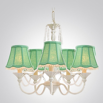 Colored Fabric Shades Soft White Finished Iron Support Crystal Chandelier for Pretty Girls