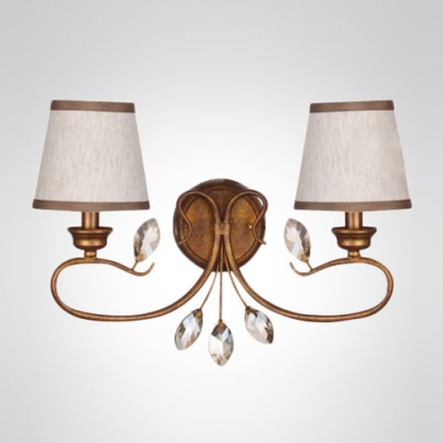 Comforting Graceful Scrolls Makes Two-light White Sahdes Wall Sconce Perfect for a Casual Hallway