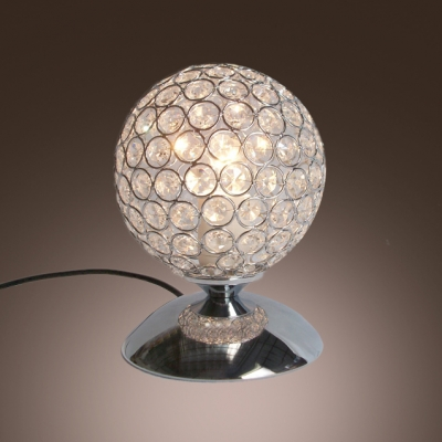 Contemporary Sphere Style Table Lamp Adorned with Beautiful Crystal Beads