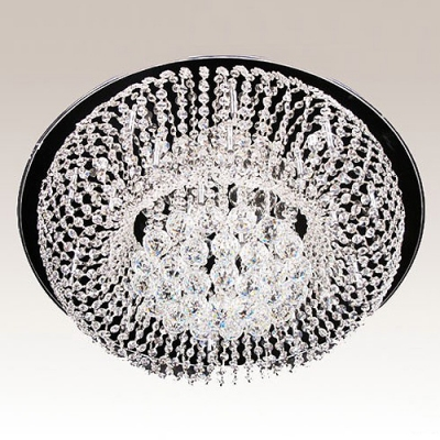 Crystal Balls Hanging Together Round Flush Mount with Clear Crystal Strands
