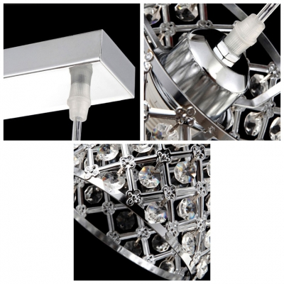 Crystal Embedded Metal Cylinder Shade Multi-Light Pendant Finished in Chrome