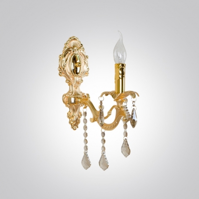 Dazzling Ravishing Strolling Arm Wall Sconce Featured Gold Finish Crystal Drops
