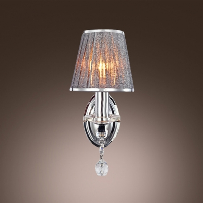 Decorative Gray Fabric Shade and Wrought Iron Frame Composed Delightful Crystal Accent Wall Sconce