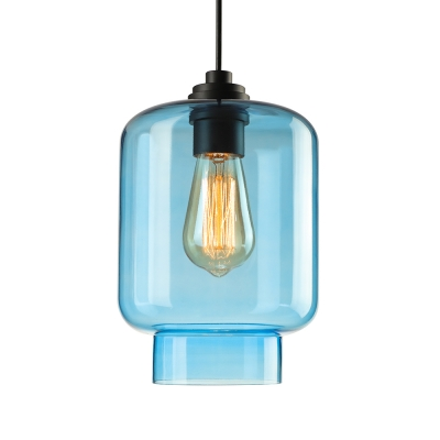 Downward Purple/ Blue Industrial Colored LOFT Glass Pendant