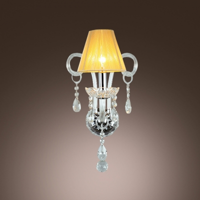 Elegant Wall Light Fixture Completed with FabricHardback Shade and Graceful Crystal Arms and Drops