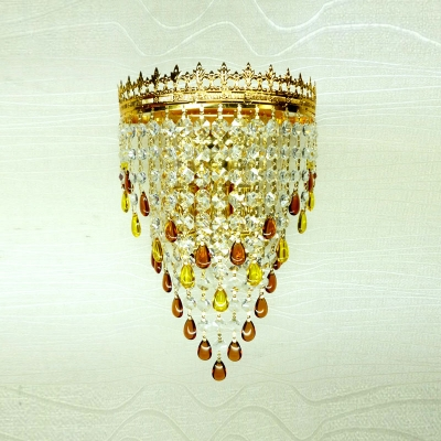 Fabulous Gold Finish Frame Adorned with Strings of Crystals Composed Contemporary Wall Washer