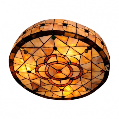 Fancy three lights floral shell made shade tiffany flush mount fancy three lights floral shell made shade tiffany flush mount ceiling light aloadofball Image collections