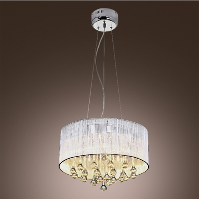 Fantastic ceiling light with white translucent drum shade supports fantastic ceiling light with white translucent drum shade supports waterfall of sparkling crystal teardrops aloadofball