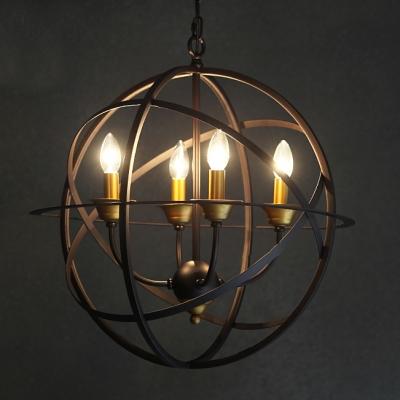 industrial orb chandelier in candelabra style four light