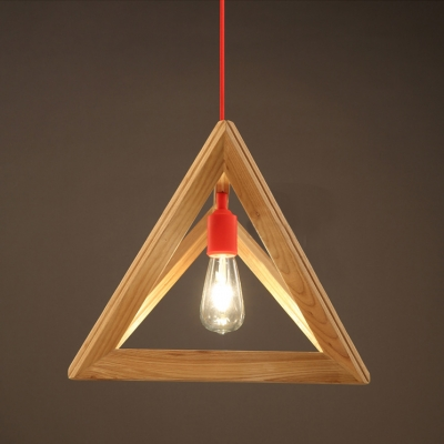 geometric wood designer pendant light with red cord