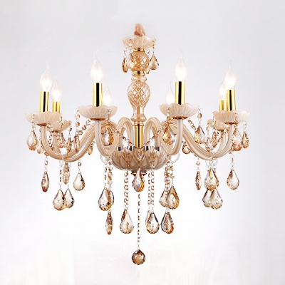 Glittering Amber Crystal Drops Pendaloques 8-Light Large Dining Room Chandelier