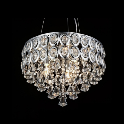 Glittering Clear Crystal Strands and Diamonds Stainless Steel Drum Shade Large Pendant