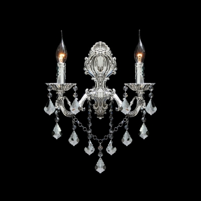 Glittering Two Candle Light Wall Sconce with Graceful Scrolling Arms and Beautiful Crystal Drops