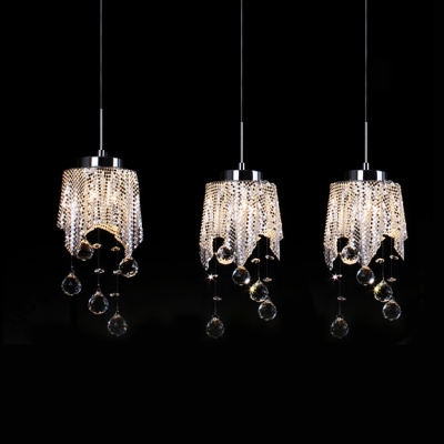 Baycheer / Graceful Clear Crystal Drops and Chrome Finish Add Glamour to Multi Light Pendant Creating Welcomed Embellishment