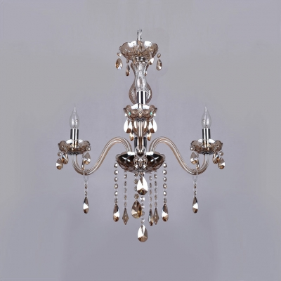 Graceful Scrolling Frame of  Chandelier Bedecked with Glittering Crystal and Unique Chrome Finish