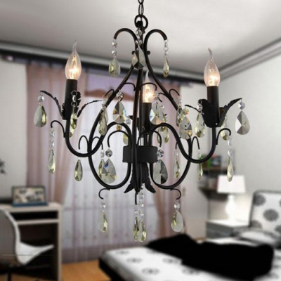 Gracefully Black Finished Wrought Iron Arms Faceted Crystal  Rustic Style Mini Chandelier