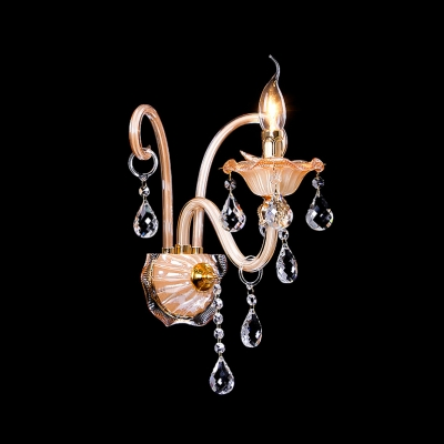 Grraceful Scrolling Arms and Crystal Drops Creates Stunning Single Light Wall Sconce