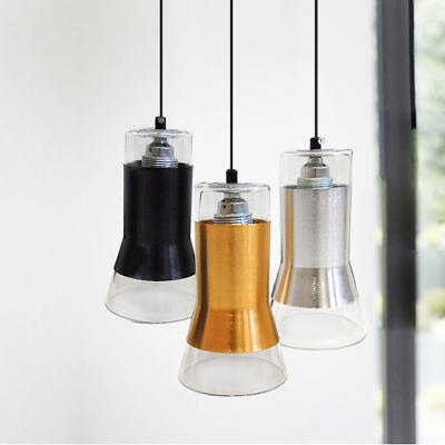 "Ice Cup Metal And Glass Pendant Light For Dining Room 4.7""Wide"