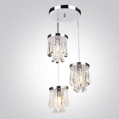 Kitchen or Dining Area Pendant  Adorned with Round Stainless Steel Canopy  and Crystal Prism Drops