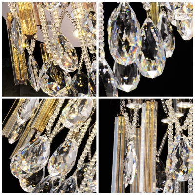 Large Faceted Crystal Drops and Small Crystal Beaded Strands Accented 15.7