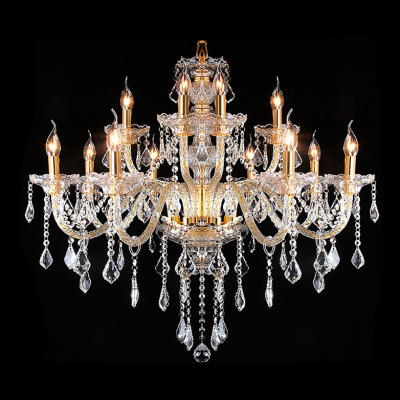 Luminous and Grand Hand-Formed Crystal Arms 12-Light Crystal Chandelier