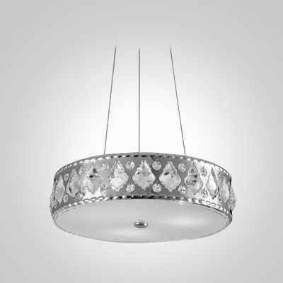 Modern Clear Crystal Beads Embedded Metal Drum Shade Chic and Elegant Large Pendant