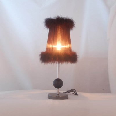 Romantic Wrought Iron Table Lamp Fixture with Soft Feather Detailing Fabric Shape Creating Gorgeous Look