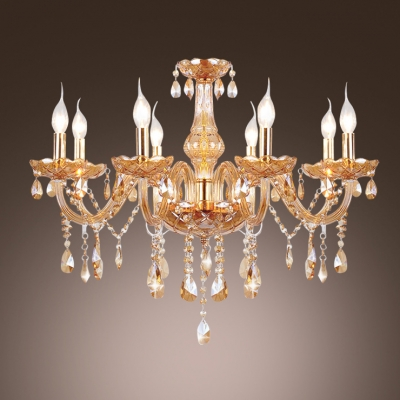 Scrolling Frame of  Chandelier Bedecked with Glittering Crystal and Luxurious Gold Finish