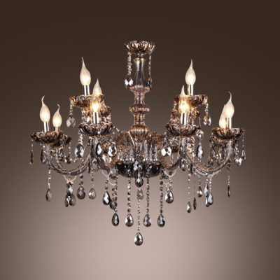 Smoky Gray Finely Hand Cut Crystal Chains and Drops6-Light Elegant Chandelier