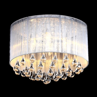 soft sheer drum shade 4light elegant flush mount hanging clear crystal teardrops