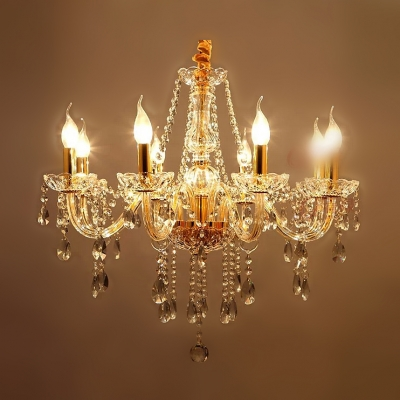Sparkling Hand Cut Plentiful Crystal Strands 8-Light Classic Style Chandelier