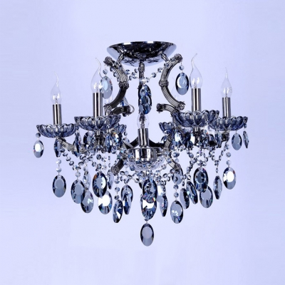 Splendid Crystal Chandelier Offers Luxury with Delicate Frame Accented by Sparkling Blue Crystals