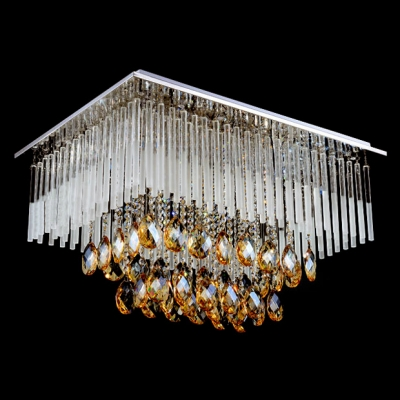 Striking and Elegant Crystal Glass Rods and Strands Rainfall Flush Mount Shine with Champagne Crystals