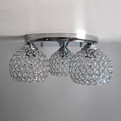 three globes semiflush mount ceiling light sparkling with crystal beads