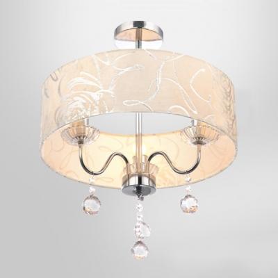 Three-Light Romantic Rose Details Drum Shade Dropling Crystal Balls Mini Chandelier Ceiling Light