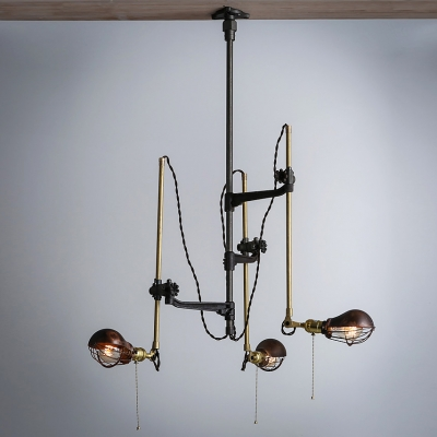 Vintage Brilliant Design Gourd Shaped Industrial Retro 3-Light Wall Light with Swing Arm