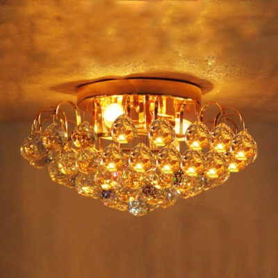 """Image of """"11.8""""""""Wide 2-Light Cluster of Crystal Balls Semi-Flush Mount in Gold Finish"""""""