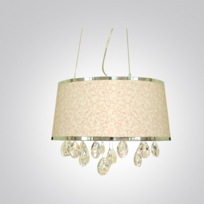 Adorable Four-light Large Pendant Features Glamorous Pink Fabric Shade and Beautiful Crystal Droplets