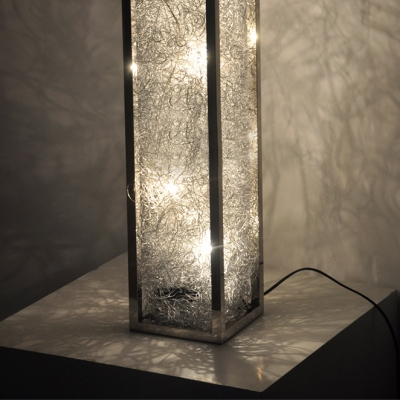 Aluminum Wire Adorned Long Standing Rectangle Floor Lamp