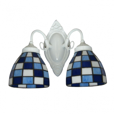 Blue and White Grid Pattern Glass Shades White Finish Tiffany Bathroom Lighting