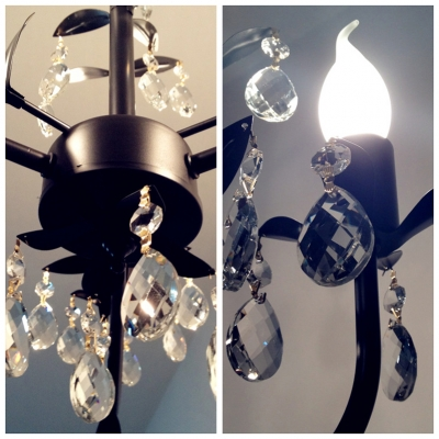 Bright Clear Crystal Accents 3-Light 19.6