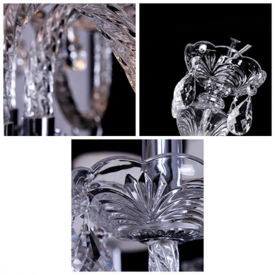 Clear Crystal Cascades 6-Light Traditional 22.4
