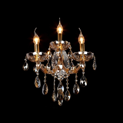 Complement Your Home Decor with Sparkling Wall Sconce with Champagne Crystal and Three Candle-style Lights