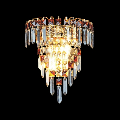 Decorative Crystal Wall Sconce Features Gold Finish and Graceful Scrolls